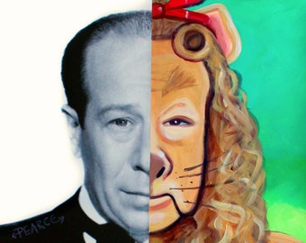Bert Lahr the Cowardly Lion - Signed Art Print - Free Shipping - by Carlie Pearce