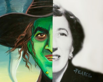 Margaret Hamilton as The Wicked Witch of the West - Signed Art Print- Free Shipping - by Carlie Pearce