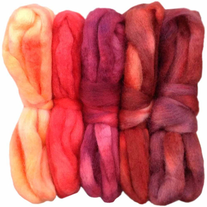 HAND DYED BFL Fiber 5oz Soft Lustrous Wool Top Roving Pre-Drafted for Hand Spinning Red Fire Blending /& Weaving Felting