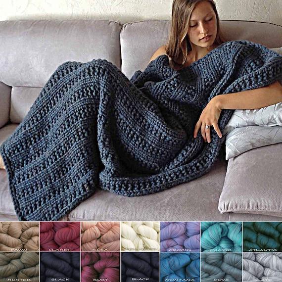 Merino Wool Blanket Knit Kit Super Bulky Soft Chunky Thick Etsy