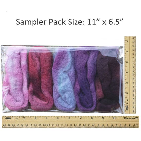 Color Sampler Pack of BFL Wool Hand Dyed in USA by Living Dreams Blues Needle Felting Roving Fiber for Felting Spinning Weaving Dryer Balls Soap Making and Embellishments