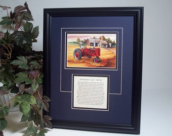 Farmall Model C - Super C  1948 to 1954 with History, Framed Art gift for Farmall lover.