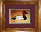 Canvasback Framed Decoy Art Print finished in beautiful oak frame ready to accent any wall or room in home or office