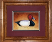 Redhead Framed Decoy Art Print finished in handsome oak frame ready to accent any wall or room in home or office