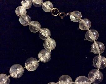 Vintage Clear Bubble Lucite Beaded 1950s Necklace