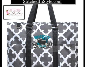 Your Choice of Pattern Hockey Mom Personalized Organizing Utility Work Tote Everyday Bag Custom Monograms Available