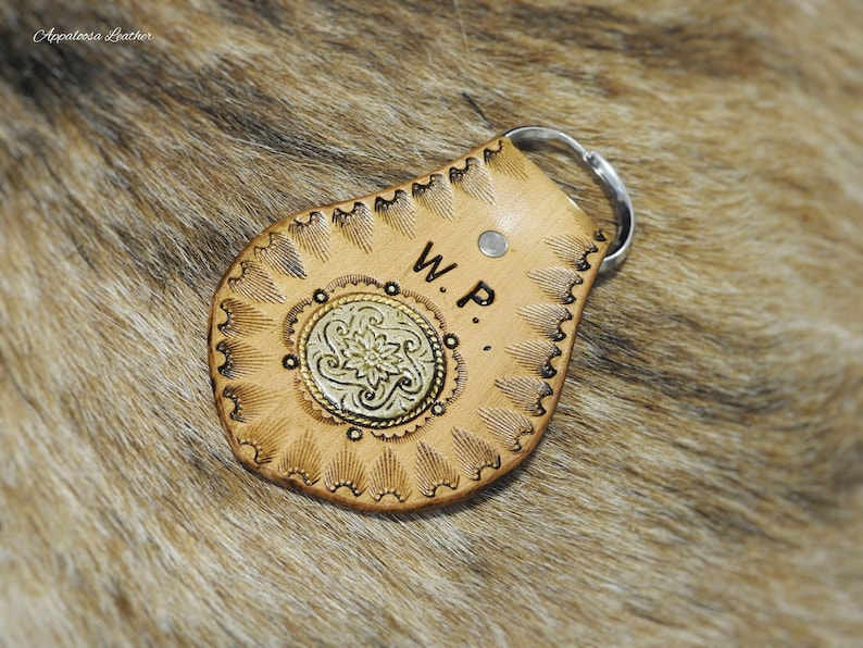 Handcrafted Leather Key Ring with Wildlife Bear Concho