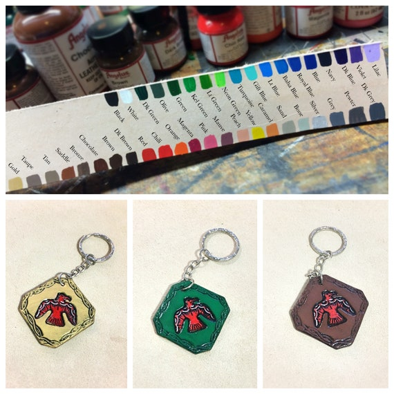 Custom Mystical Phoenix Leather Keychain Personalized gift  be4c66c05