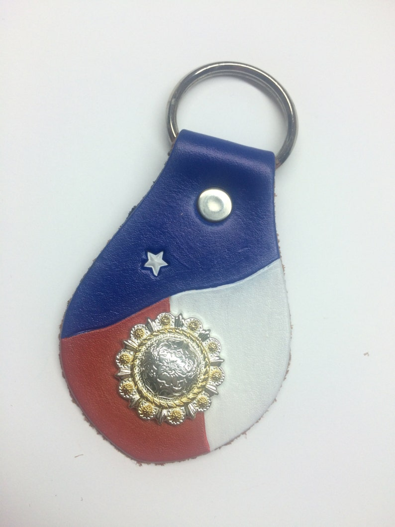 Texas State Flag Come and Take it Black Leather Metal Keychain Key Ring