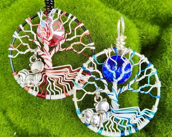 Kitsune 9 Tailed Fox Tree of Life Pendant / Fire & Ice Jewelry / Wire Wrapped Tree of Life Necklace / Pagan Jewelry / Folklore