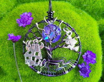 Haunted House Tree of Life Pendant / Halloween Jewelry / Witchy Necklace / Pagan Symbol