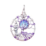 Purple Mermaid Mini Tree of Life Pendant