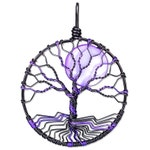 Purple and Black Tree of Life Pendant Wire Wrapped Jewelry