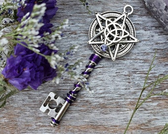 Pendant earrings-Blue chalcedony and Amethyst-pentacle-witch-Pagan jewelry-Wiccan Jewelry