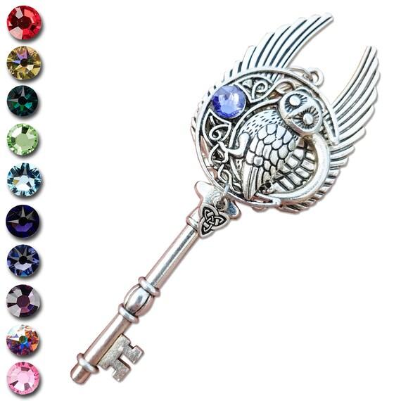 Celtic Owl Fantasy Key Pendant