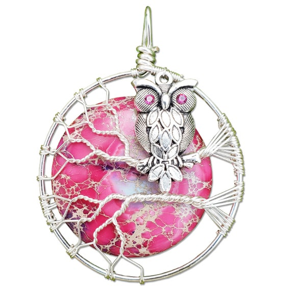 Owl Charm Necklace with Veriscite Moon / Owl Pendant Necklace / Owl Jewelry