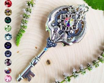 Melusine Siren Skeleton Key Pendant / Fantasy Key Jewelry / Mythology Necklace / Pagan Gift / Mermaid Charm Pendant / Witchy Jewelry