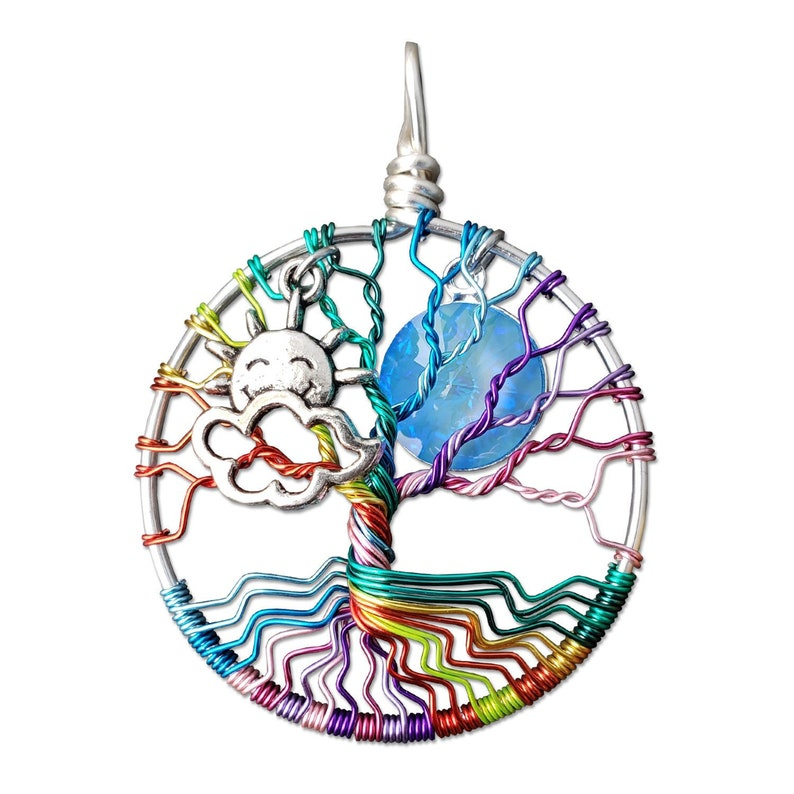 Rainbow Tree of Life Pendant / Junior Tree of Life Necklace image 0