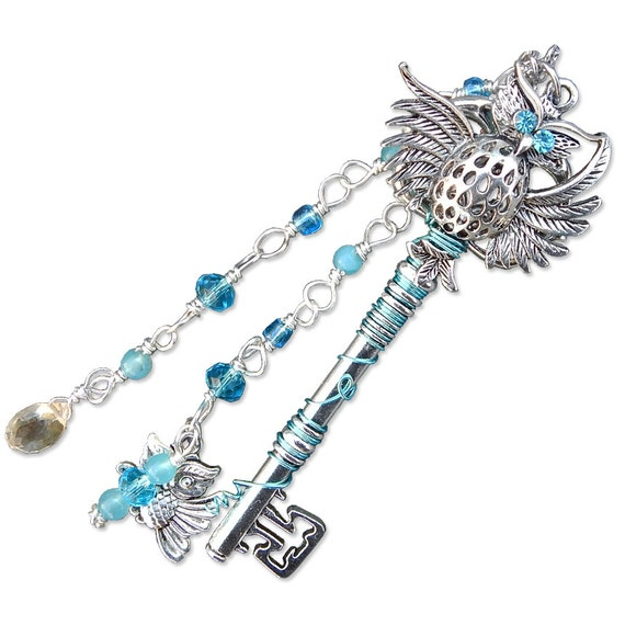 Owl Fantasy Key Skeleton Key Necklace