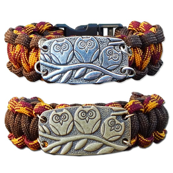 Brown and Orange Owl Paracord Bracelet, Survival Bracelet, Rope Bracelet