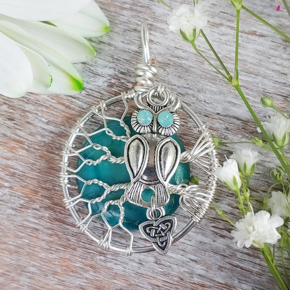 Green Variscite Owl Necklace / Wire Wrapped Tree Pendant / Pagan Jewelry / Witch Symbol