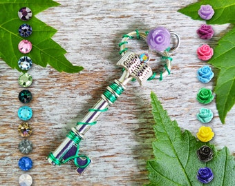 Fairy Tale Key Pendant / Pagan Jewelry / Wiccan Necklace / Witchy Gift / Book Lovers Gift / Rose Charm Necklace