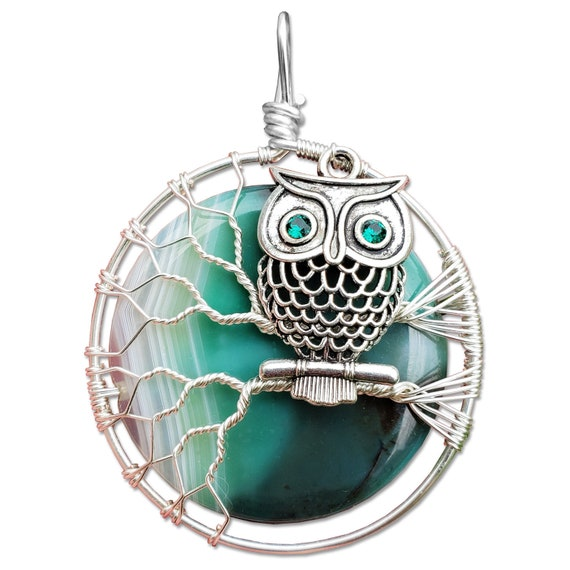 Owl Charm Necklace with Green Agate Moon