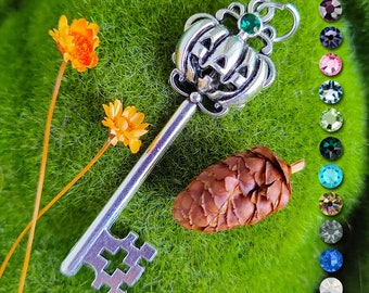 Personalized Pumpkin Key Pendant / Pagan Jewelry / Wiccan Necklace / Witchy Gift / Halloween Jewelry