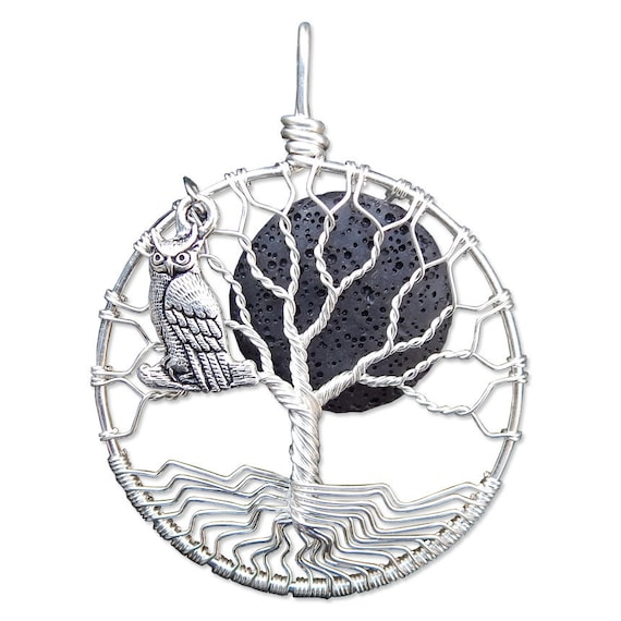 Wire Wrapped Lava Rock Tree of Life with Horned Owl Charm