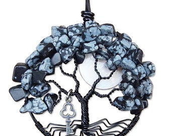 Snowflake Obsidian Tree of Life Pendant