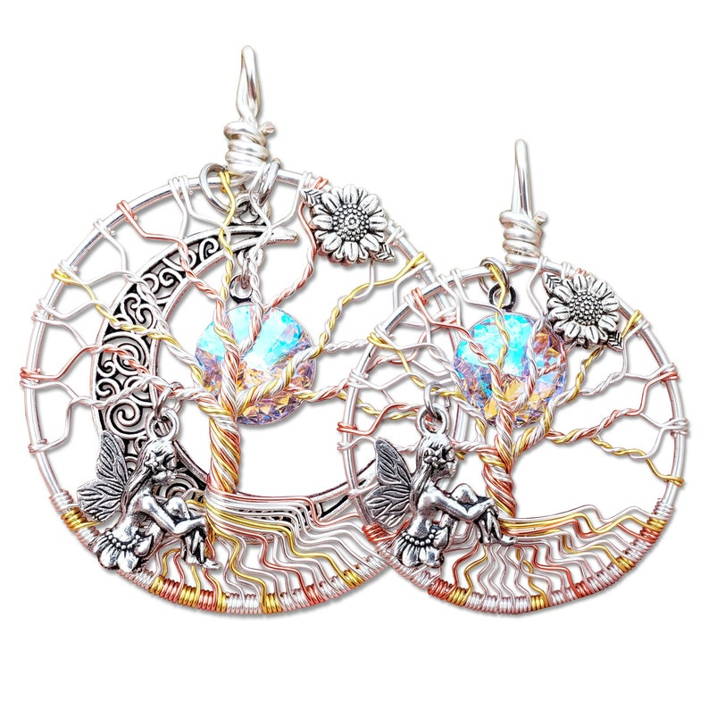 Fairy Mother Daughter Tree of Life Pendant Set / Mother image 0