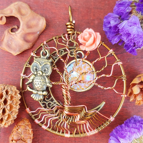Coral Rose Tree of Life Pendant / Bronze Owl Tree of Life Jewelry / Pagan Jewelry / Wicca Jewelry / Owl Jewelry / MadamVonTrinkets