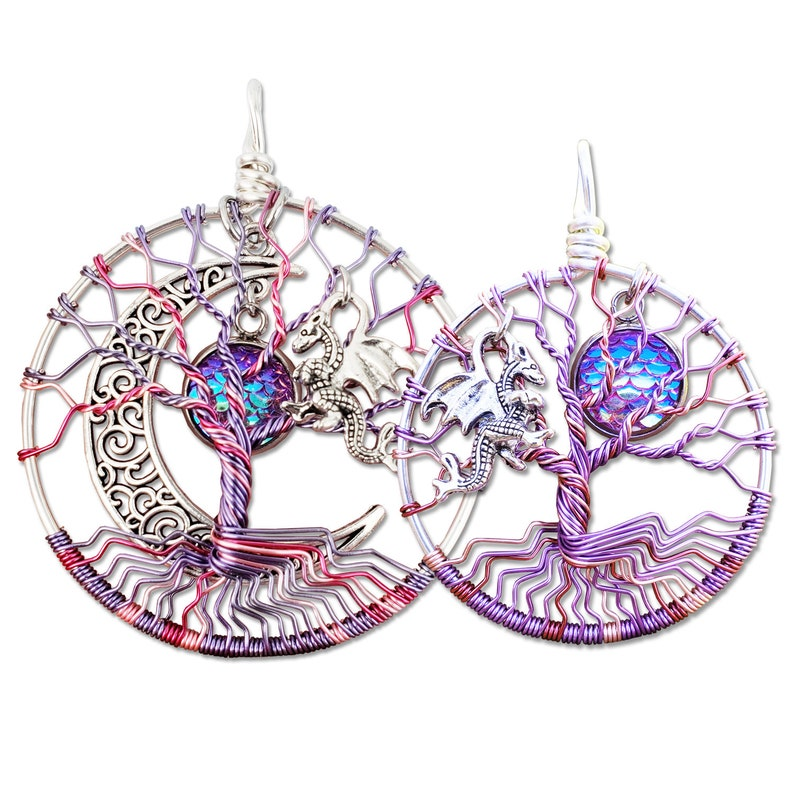 Dragon Mother Daughter Tree of Life Pendant Set / Mother image 0