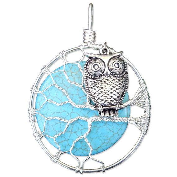 Owl in a Tree with Turquoise Magnesite Moon Wire Wrapped Regular Sized Owl in a Tree