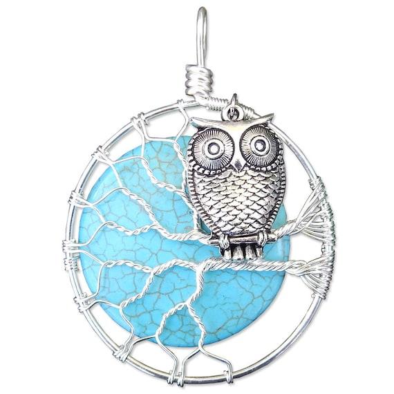 Tree of Life Pendant / Turquoise Jewelry / Owl Jewelry