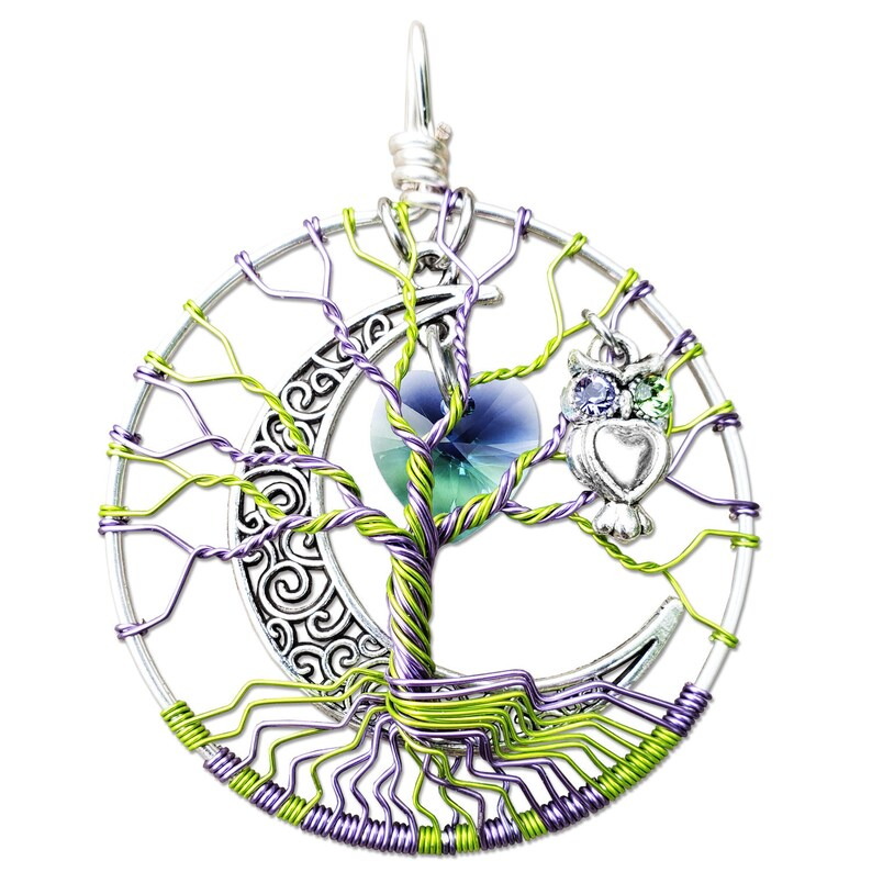 Swarovski Crystal Heart Tree of Life Pendant image 0