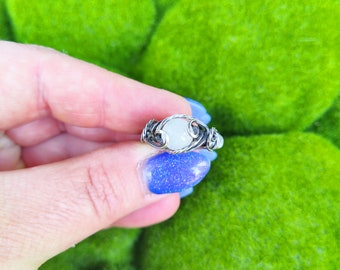 Rainbow Moonstone Wire Wrapped Ring / Moonstone Ring / Sterling Silver Witch's Ring / Pagan Jewelry / Witchy Gift