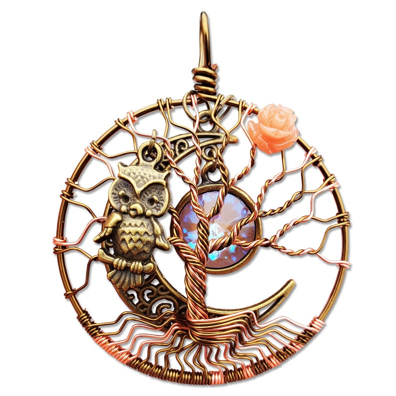 Coral Rose Tree of Life Pendant / Bronze Owl Tree of Life image 0