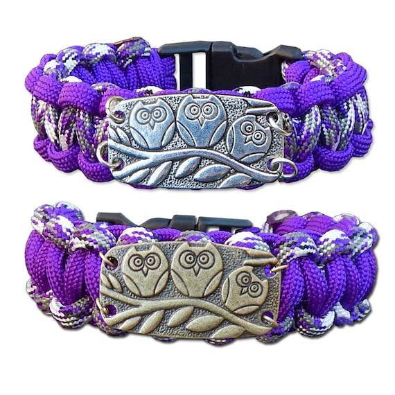 Purple Owl Paracord Bracelet, Survival Bracelet, Rope Bracelet