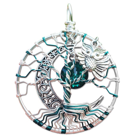 Emerald Owl Tree of Life Pendant / Owl Jewelry