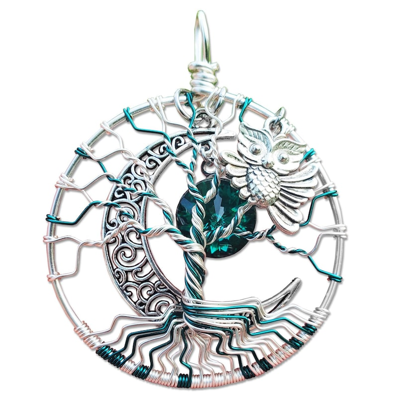 Emerald Owl Tree of Life Pendant / Owl Jewelry image 0