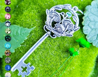 Personalized Mushroom Key Pendant / Pagan Jewelry / Wiccan Necklace / Witchy Gift / Nature Lover Gift
