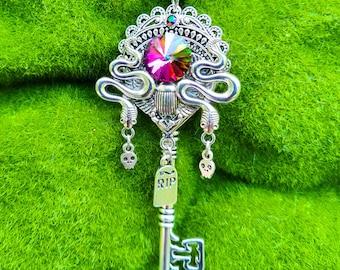 Betelgeuse Skeleton Key Pendant / Fantasy Key Jewelry / Halloween Necklace / Pagan Gift / Snake Charm Pendant / Witchy Jewelry