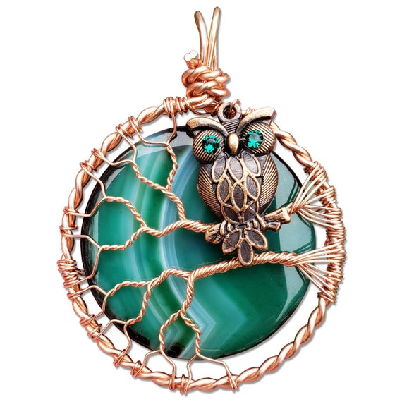 Copper Owl Charm Necklace with Green Agate Moon