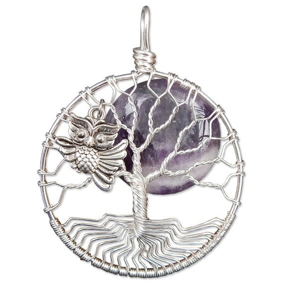 Owl Tree of Life Pendant Wire Wrap Tree of Life Necklace