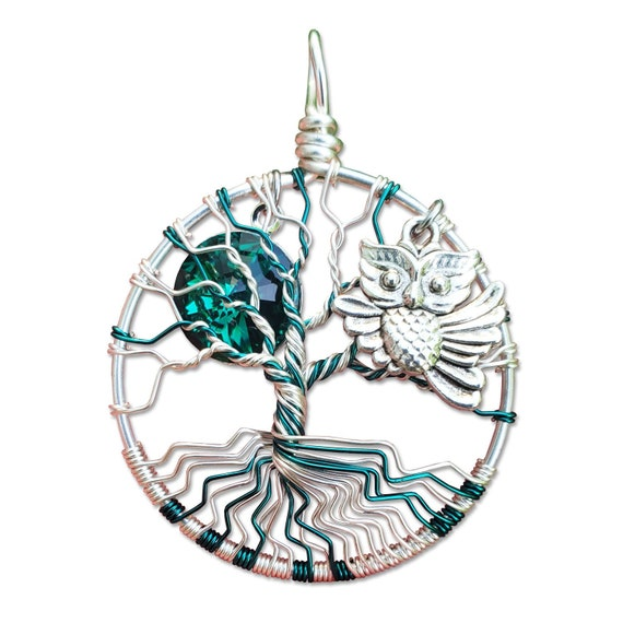 Emerald Owl Junior Tree of Life Pendant / Owl Jewelry