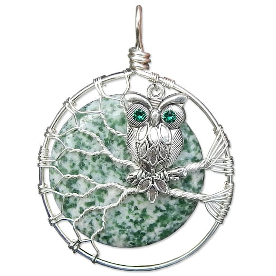 Diopsite in Zoisite Owl Necklace Wire Wrapped Jewelry