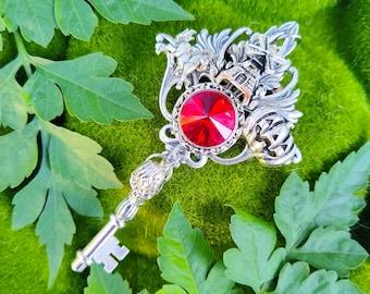 Headless Horseman Skeleton Key Pendant / Fantasy Key Jewelry / Halloween Necklace / Pagan Gift / Pumpkin Charm Pendant / Witchy Jewelry