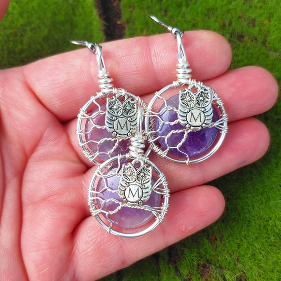 Personalized Amethyst Gemstone Moon Owl Charm Earring and Necklace Set