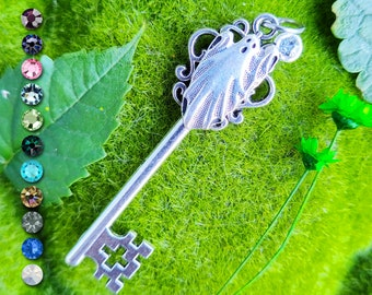Personalized Spooky Ghost Key Pendant / Pagan Jewelry / Wiccan Necklace / Witchy Gift / Halloween Jewelry